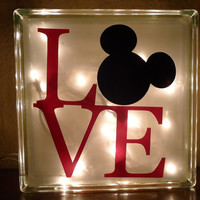 Disney Mickey Mouse Love Glass Night Light