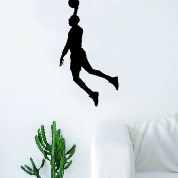 Basketball Player V3 Silhouette Quote Wall Decal Sticker Bedroom Living Room Art Vinyl Teen Sports Bball Ball is Life Dunk