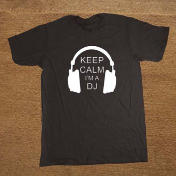 DJ Collection-Keep Calm I'm A DJ Party Headphones Rave T Shirt Men Novelty Funny Tshirt Man Clothing Short Sleeve Camisetas T-shirt