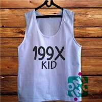 199X Kid Men's White Cotton Solid Tank Top