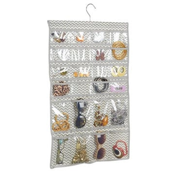 InterDesign Chevron Fabric Storage, Hanging Jewelry closet Organizer Hanger -48 Pockets, Taupe/Natural