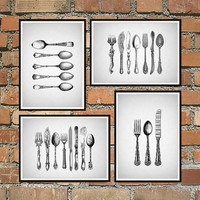 Kitchen Prints, Kitchen Wall art, black and white Prints, Fork knife Spoon wall decor, Dining room decor, Dining room art, Kitchen art *10*