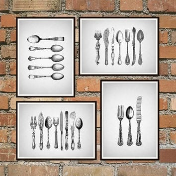Ordinaire Kitchen Prints, Kitchen Wall Art, Black And White Prints, Fork K