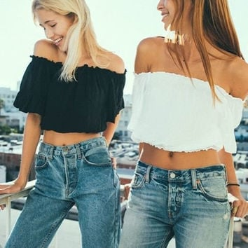 Stylish Strapless Crop Top Short Sleeve Tops T-shirts [4919928708]