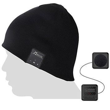 Bluetooth Beanie Music Hat ,Coeuspow V4.1 Wireless Smart Beanie Music Cap with HD Stereo Speaker ,Built-in Mic & CVC 6.0 Noise cancelling Microphone for Running Skiing Skating - Black