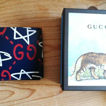 GUCCI Ghost mens wallet apollo leather blue/red graffiti new rrp 270£