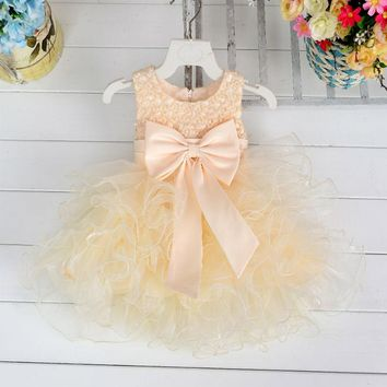 2017 New Spring Summer Girls Ball Gown Dress For Kids Dance Costumes Wedding Flower Princess Party With Bow Puff