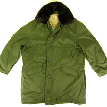 Green Hooded B-9 Arctic Parka - Nylon N-3B Hooded Field Jacket m-51 Military Ivy League Menswear - Men's Extra Large Xl