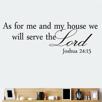 as for me and my house we will serve the lord quotes wall stickers vinyl mural art diy home decals living room bedroom decoratio