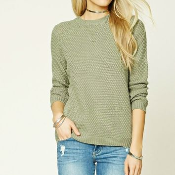 Knit Dolman-Sleeve Sweater