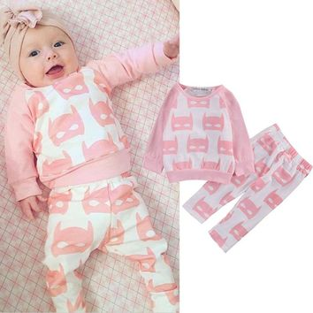 Cute Newborn Baby Girls Clothes Pink Batman Hoodies Sweatshirt Tops+Pants 2pcs Outfits Clothing Set