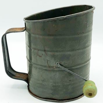 Vintage Bromwell's Flour Measuring Sifter with Green Knob Handle - 3 Cups