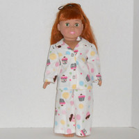 18 inch Doll Clothes White Flannel Pajamas with Pink Cupcakes fits AG dolls