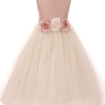 Dusty Rose Faux Silk Girls Dress with Tulle Skirt & Flower Trim 2T-12
