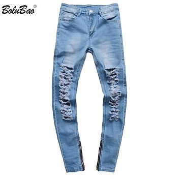 Men Skinny Biker Jeans home Men's fashion Motorcycle Hip hop Denim Pants Joggers Runway Slim Elastic Jeans