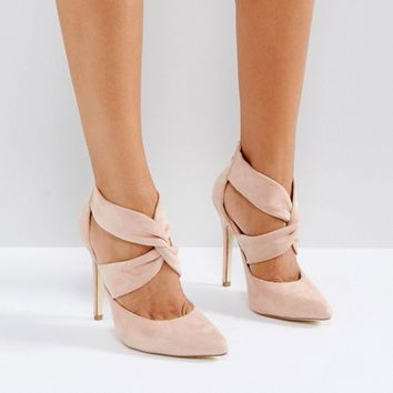 London Rebel Cross Over Back Zip Point High Heels at asos.com