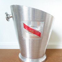 Large French G. H. Mumm champagne bucket made of aluminum with red interior