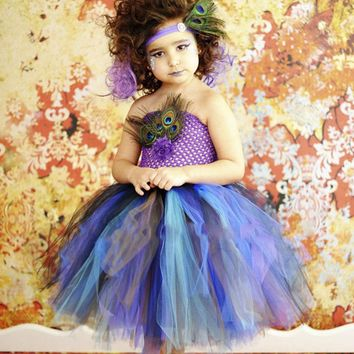 2017 new Tutu Dress Girls Feathers Pageant Tulle Dresses Halloween Costumes Baby Kids Girls Performance Birthday Party age 12