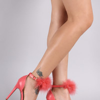 Feather Ankle Strap Single Sole Stiletto Heel