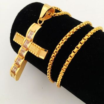New Arrival Gift Jewelry Shiny Stylish Hip-hop Club Cross Rack Necklace [8439428419]