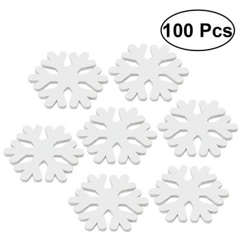 100pcs Wooden Snow Flake Cartoon Mini Cute DIY Wood Ornament White Snow Flake for Christmas Decoration New Year Wedding