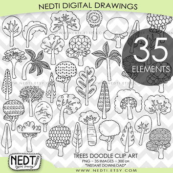 Trees Doodle Clip Art, Whimsical Tree Clipart, Hand drawing, PNG, 300dpi, Downloadable Images