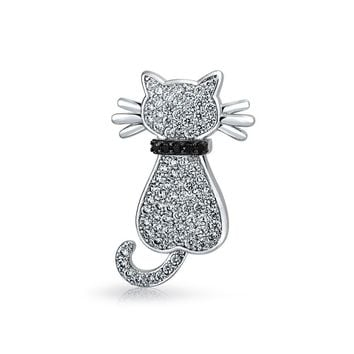 Pave CZ Sitting Cat Kitty Kitten Pet Pave Brooch Pin Silver Plated