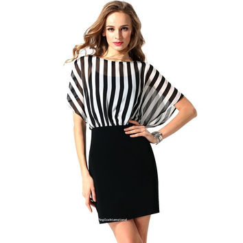 Women O-Neck Striped Chiffon Patchwork High Waist Pencil Mini Dress OL Ladies = 1838544132