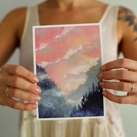 Watercolor, Watercolor Painting, Forest, Woodland, Landscape Painting, Pink, Watercolor Print, Woodland Nursery, Mountain Print, Mountain