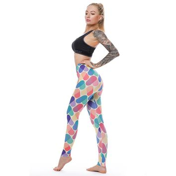 Rainbow Colorful Hearts leggings. Fitness Tights