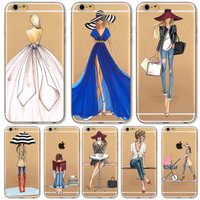Mobile Phone Case For iPhone 7 6 6s Plus 6Plus 4 4S 5 5S SE 5C Bag New Modern Dress Shopping Girl Transparent Soft TPU Cover