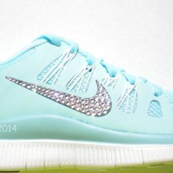 CLEARANCE! Bling Nike Free 5.0+ Shoes - Tiffany Blue / Glacier Ice  - Bedazzled with 100% Swarovski Crystals
