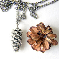 Silver Pine Cone Necklace - Pinecone Necklace - Pinecone pendant - large anitqued silver pinecone - Woodland Necklace - Autumn Fashion