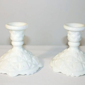Pair of Westmoreland Old Quilt Pattern Milk Glass Candle Holders, Taper