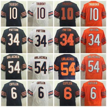 2017 Elite Football Jerseys 10 Mitchell Trubisky Jerseys 34 Walter Payton Jersey 54 Brian Urlacher 6 Jay Cutler Throwback Navy Blue Orange