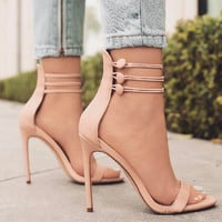 2017 Summer New Three-row Buckle Cross-tied Sandals Instagram Popular Black Women Heels Red Girl's High Heels -5