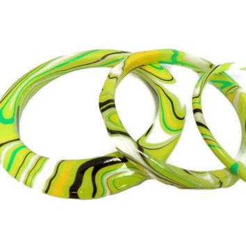 MOD Bangle Bracelet Set Psychedelic Swirls Lime Green 60s Fashion