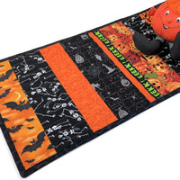 Cute Halloween Strips Quilted Table Runner in Black, Green, Orange - Bats, Owls, Spiders! Quiltsy Handmade Fall Quilt