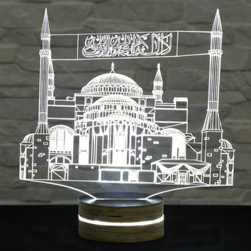 Mosque Shape, Ramadan Lights, 3D LED Lamp, Ramadan Decor, Amazing Effect, Calming Light, Plexiglass Lamp, Decorative Lamp, Acrylic Lamp