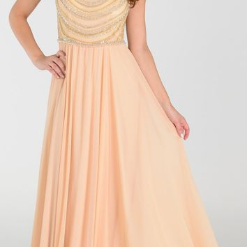 Poly USA 7380 Long Greek Chiffon Dress Champagne A Line Bateau