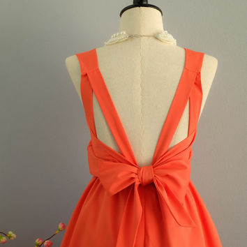 A Party V Backless Dress Fresh Orange Dress Tangerine Prom Party Dress Wedding Orange Bridesmaid Dress Orange Cocktail Backless Dress XS-XL