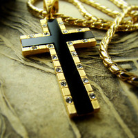 """1.57"""" 18K Gold Nano Injection Plated Mens Onyx Cross Pendant Chain Necklace Cubic Zirconia 93"""