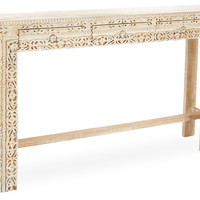 Console Violet  Table, Whitewashed, Console Table