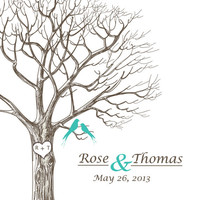 ThumbPrint Signature Wedding Tree Guest Book Alternative / Wedding Gift / Digital Sketch Tree with Love Birds and Initials / 120 Signatures