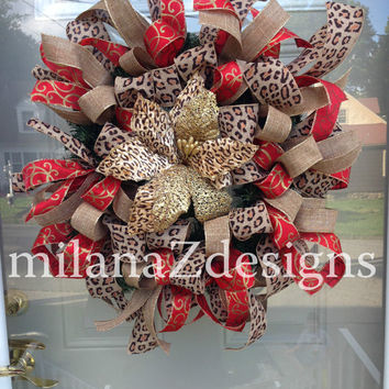 Leopard Christmas Wreath, Red and Gold Wreath, Leopard Fall Wreath, Glitzy and Glamorous Door Wreath, Wild Ribbon, Red Wreath, Autumn Decor