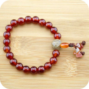 Carnelian Buddhist Mala Bracelet with Antique Glass