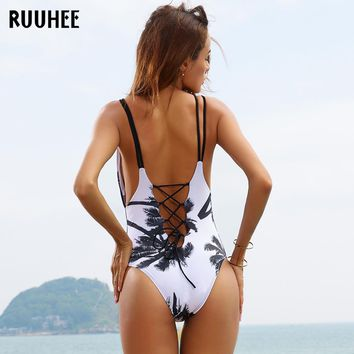 RUUHEE One Piece Swimsuit Swimwear Swimming Suit For Women 2017 Bathing Suit Vintage Beach Push Up Bandage Swim Suit Monokini