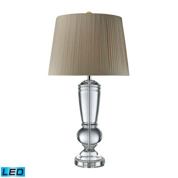 D1811-LED Castlebridge LED Table Lamp In Clear Crystal With Light Grey Shade - Free Shipping!
