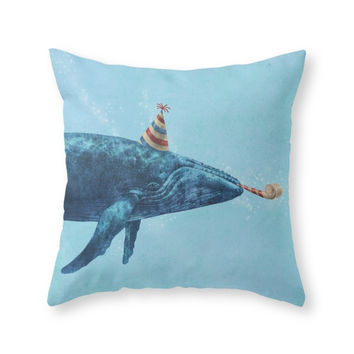 Society6 Party Whale Throw Pillow