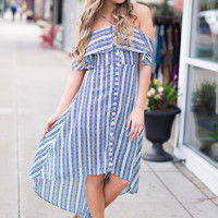 Santa Ana Striped Button Up Off The Shoulder Hi-Lo Maxi Dress (Navy)